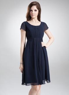 A-Linie/Princess-Linie U-Ausschnitt Knielang Chiffon Brautjungfernkleid mit Rüschen (007020655)