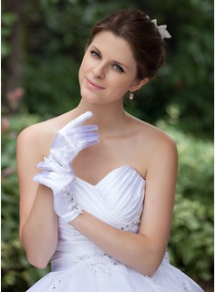 Elastic Satin Wrist Length Bridal Gloves (014026285)