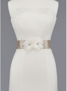 Nice Satin/Organza Sash With Beading/Flower (015012856)