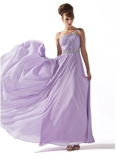 Cheap Prom Dresses A-Line/Princess One-Shoulder Floor-Length Chiffon Prom Dress With Ruffle Beading Sequins (018013785)
