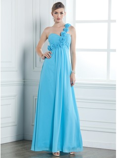 Gallakjoler Empire One-Shoulder Gulvlang Chiffon Aftenkjole med Flæsekanter Blomst(er) (017004353)