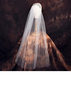 One-tier Cut Edge Elbow Bridal Veils With Rhinestones (006190600)