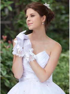 Elastic Satin Wrist Length Bridal Gloves (014026284)