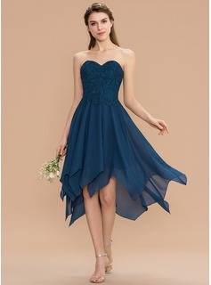 A-Line Sweetheart Asymmetrical Chiffon Lace Bridesmaid Dress (007165872)