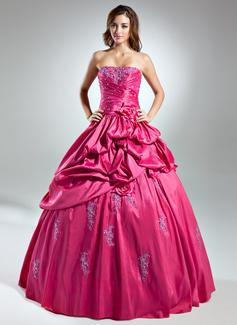 Duchesse-Linie Trägerlos Bodenlang Taft Quinceañera Kleid (Kleid für die Geburtstagsfeier) mit Rüschen Perlen verziert Applikationen Spitze Blumen (021015574)