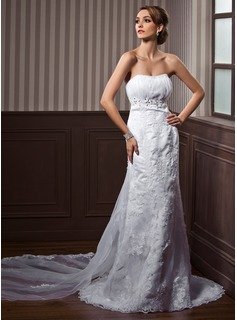 Empire Sweetheart Watteau Train Satin Tulle Wedding Dress With Ruffle Lace Beading (002000117)
