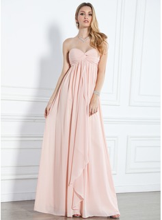Avondjurken Keizer Sweetheart Vloerlengte Chiffon Avondjurken met Roes (017004359)