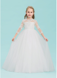 Ball Gown Floor-length Flower Girl Dress - Tulle 3/4 Sleeves Scoop Neck With Appliques (010143234)