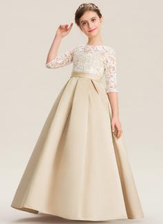 Duchesse-Linie/Princess U-Ausschnitt Bodenlang Satin Spitze Kleid für junge Brautjungfern (009173298)