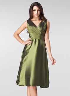 A-Linie/Princess-Linie V-Ausschnitt Knielang Taft Brautjungfernkleid mit Rüschen Schleife(n) (007005213)