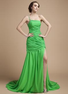 A-Linie/Princess-Linie One-Shoulder-Träger Hof-schleppe Chiffon Festliche Kleid mit Rüschen Perlen verziert Schlitz Vorn (020026036)