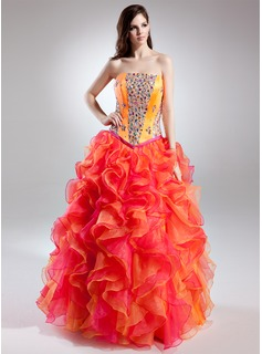 Ball-Gown Strapless Floor-Length Organza Charmeuse Prom Dress With Beading Cascading Ruffles (018015698)