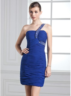 Sheath/Column One-Shoulder Short/Mini Chiffon Prom Dress With Ruffle Beading (018135092)