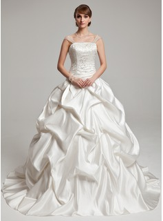 Ball-Gown Strapless Chapel Train Charmeuse Wedding Dress With Ruffle Beading (002017555)