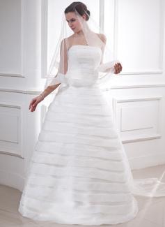 Ball-Gown Strapless Floor-Length Organza Satin Wedding Dress (002011758)