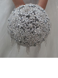 Rund Satin/Strass Brautsträuße (Sold in a single piece) - (123182184)