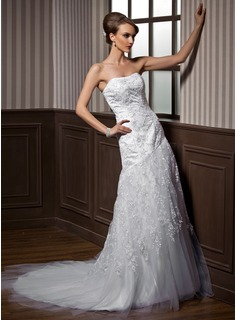 A-Line/Princess Sweetheart Chapel Train Satin Tulle Wedding Dress With Lace Beadwork (002000474)