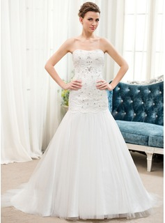 Trumpet/Mermaid Sweetheart Sweep Train Satin Tulle Lace Wedding Dress With Beading Sequins (002054623)