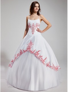 Ball-Gown Scoop Neck Floor-Length Satin Tulle Quinceanera Dress With Embroidered Ruffle Beading (021002279)