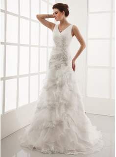 A-Line/Princess V-neck Court Train Organza Wedding Dress With Lace Beading Cascading Ruffles (002000398)