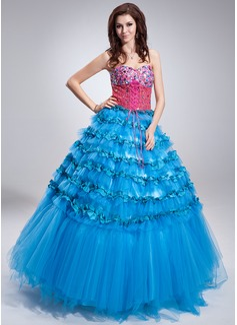 Duchesse-Linie Herzausschnitt Bodenlang Satin Tüll Pailletten Quinceañera Kleid (Kleid für die Geburtstagsfeier) mit Perlen verziert Gestufte Rüschen (021018805)