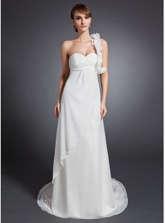 Empire One-Shoulder Court Train Chiffon Wedding Dress With Ruffle Beading Flower(s) (002015079)