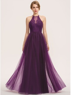 A-Line Scoop Neck Floor-Length Tulle Lace Bridesmaid Dress (007190677)