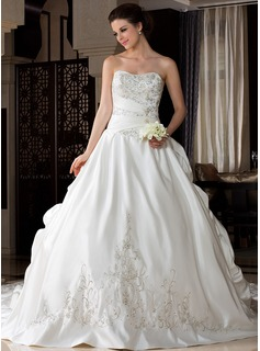 Ball-Gown Sweetheart Royal Train Satin Wedding Dress With Embroidery Ruffle Beading (002033766)