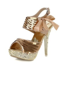 Satin Stiletto Heel Sandals Platform With Sequin Lace-up shoes (087023666)