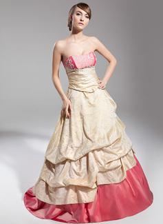 Duchesse-Linie Herzausschnitt Sweep/Pinsel zug Taft Quinceañera Kleid (Kleid für die Geburtstagsfeier) mit Rüschen Spitze (021014698)