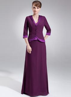 A-Linie/Princess-Linie V-Ausschnitt Bodenlang Chiffon Charmeuse Kleid für die Brautmutter (008005976)