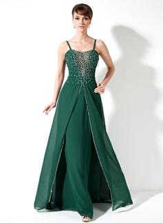 A-Linie/Princess-Linie Schatz Bodenlang Chiffon Kleid für die Brautmutter mit Rüschen Perlstickerei Pailletten (008017173)