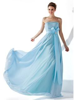 Avondjurken A-Lijn/Prinses Strapless Vloerlengte Chiffon Satin Avondjurk met Roes Kraal Kristal Bloemen Pin (017013770)