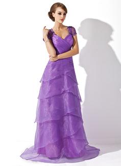 A-Linie/Princess-Linie V-Ausschnitt Sweep/Pinsel zug Organza Kleid für die Brautmutter mit Rüschen Spitze Perlen verziert Pailletten (008005749)