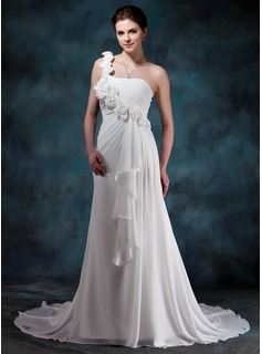 A-Line/Princess Sweetheart One-Shoulder Court Train Chiffon Wedding Dress With Flower(s) Cascading Ruffles (002011988)