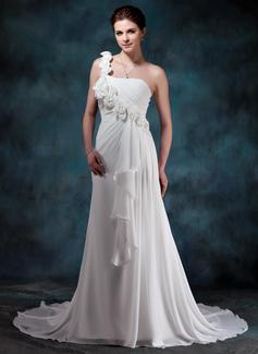 Forme Princesse Bustier en coeur Encolure asymétrique Traîne moyenne Mousseline Robe de mariée avec Fleur(s) Robe à volants (002011988)