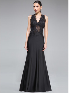 Sheath/Column V-neck Floor-Length Lace Jersey Evening Dress (017041026)