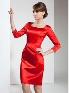 Sheath Square Neckline Knee-Length Charmeuse Cocktail Dress With Beading (016021239)