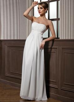 Empire-Linie Herzausschnitt Bodenlang Chiffon Brautjungfernkleid mit Rüschen Perlen verziert (007001846)