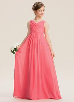 A-Linie V-Ausschnitt Bodenlang Chiffon Kleid für junge Brautjungfern mit Rüschen Perlstickerei Pailletten (009173291)