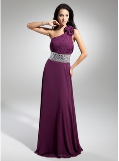 Cheap Evening Dresses A-Line/Princess One-Shoulder Floor-Length Chiffon Evening Dress With Ruffle Beading Flower(s) (017014886)