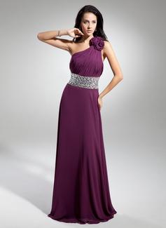 A-Line/Princess One-Shoulder Floor-Length Chiffon Evening Dress With Ruffle Beading Flower(s) (017014886)