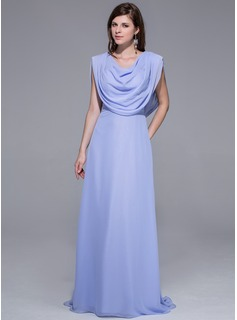Sheath/Column Sweep Train Chiffon Evening Dress (002026090)