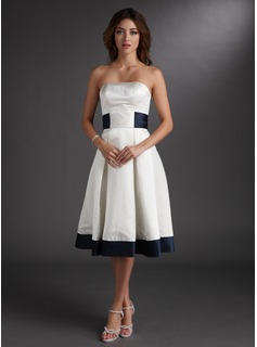 Cheap Wedding Dresses A-Line/Princess Strapless Knee-Length Satin Wedding Dress With Sashes (002000067)