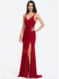 Sheath/Column V-neck Sweep Train Velvet Prom Dresses With Ruffle Split Front (018187228)