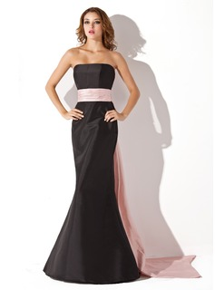 Trumpet/Mermaid Strapless Floor-Length Taffeta Prom Dresses With Sash (018112713)