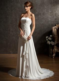 A-Linie/Princess-Linie Herzausschnitt Sweep/Pinsel zug Chiffon Brautkleid mit Perlen verziert Applikationen Spitze Pailletten Gestufte Rüschen (002011396)