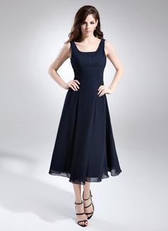 A-Linie/Princess-Linie Rechteckiger Ausschnitt Wadenlang Chiffon Brautjungfernkleid mit Rüschen (007015675)