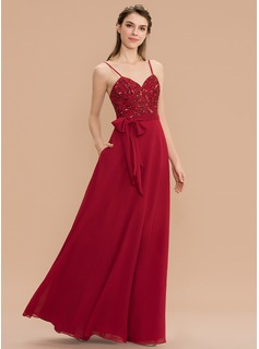 A-Line Sweetheart Floor-Length Chiffon Sequined Bridesmaid Dress With Bow(s) Pockets (007176750)