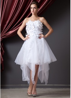 Forme Princesse Bustier en coeur Traîne asymétrique Organza Robe bal d'étudiant avec Fleur(s) (018014224)